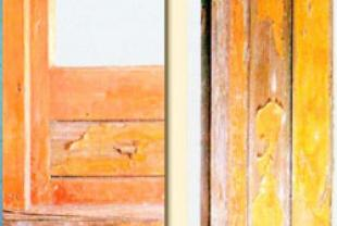 On wood varnished surfaces, cracks appear and the varnishes peel off, while the color of the wood has begun to change.